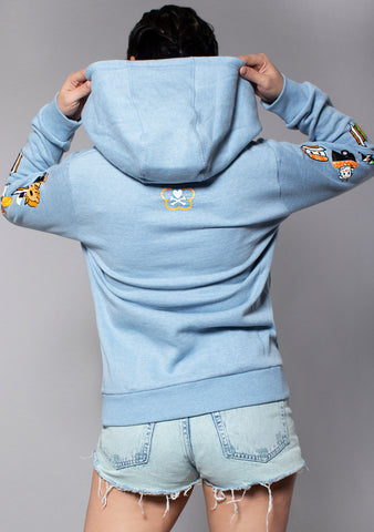 TOKIDOKI Sushicorno Women's Hoodie in Light Heather Blue