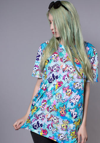 TOKIDOKI  Watercolor Ponies Boy Fit Tee in Blue
