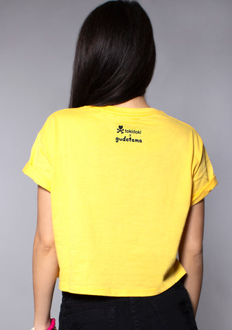 X Gudetama Unicorno Crop Top Tee in Yellow