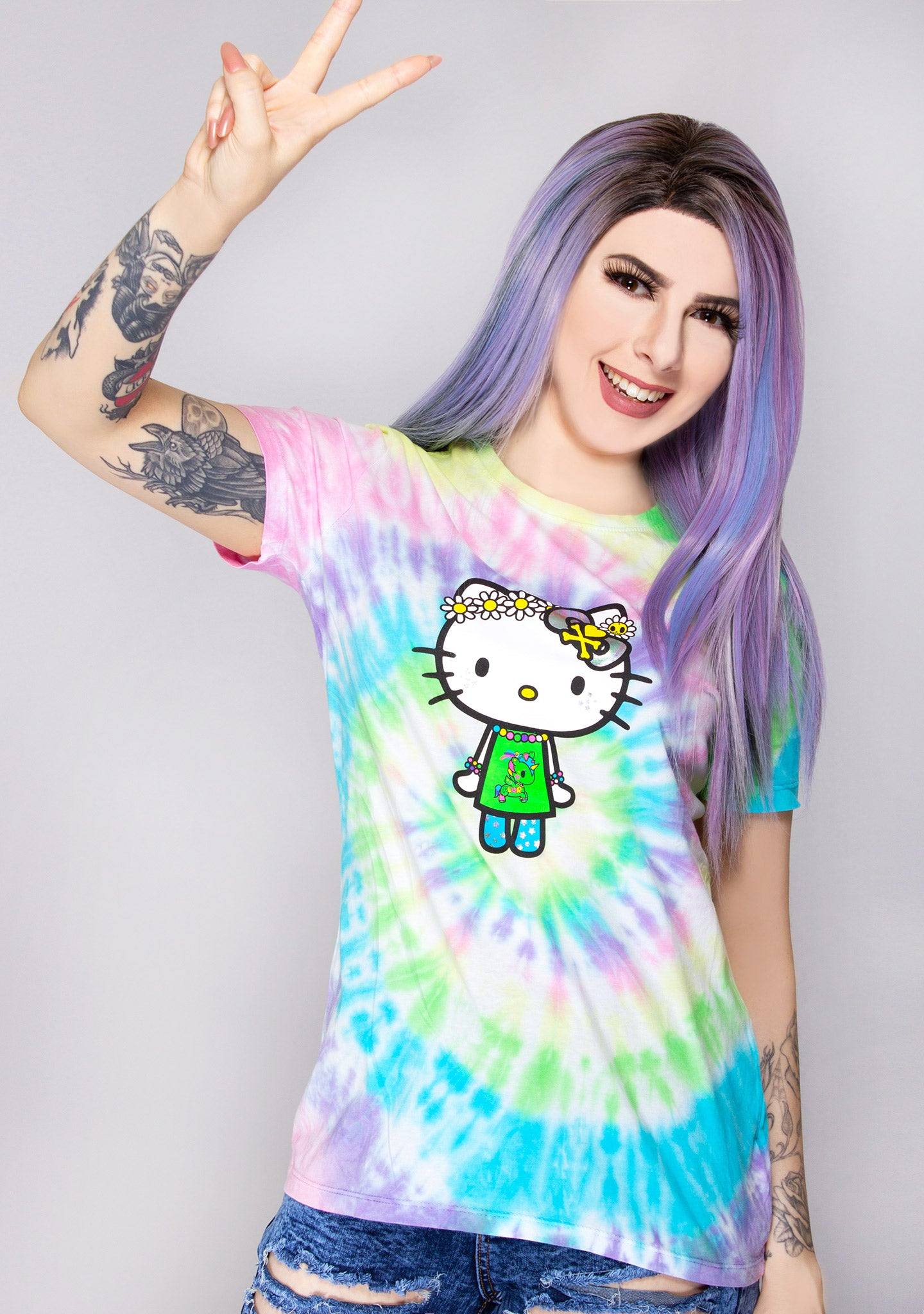 X Hello Kitty Far Out Kitty Tie Dye Tee