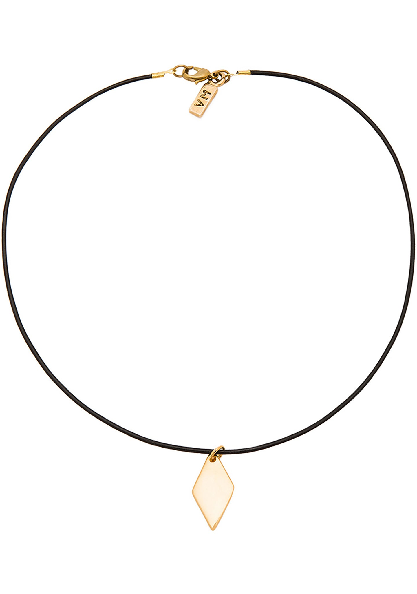 Vanessa Mooney Diamond Leather Choker in Gold