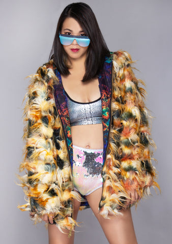 Desert Wasteland Convertible Faux Fur Coat