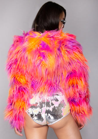 Acid Drop Reversible Cropped Faux Fur Jacket