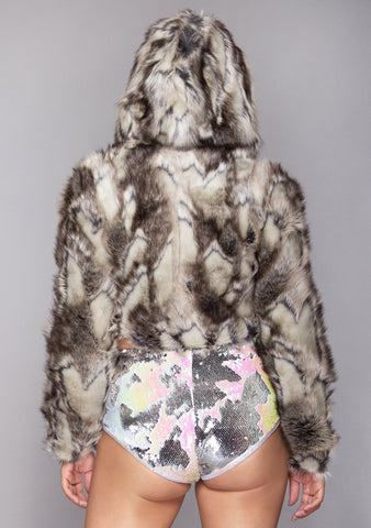 Daybreak Reversible Cropped Faux Fur Jacket