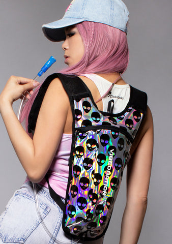 Cosmic Bipolar Alienz Backpack in Silver Holographic