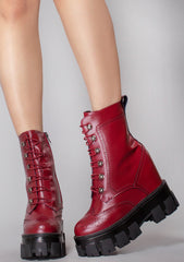 WTF Machinery X Platform Wedge Boots