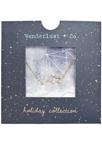 Wanderlust + Co Aquarius Cosmic Necklace in Gold