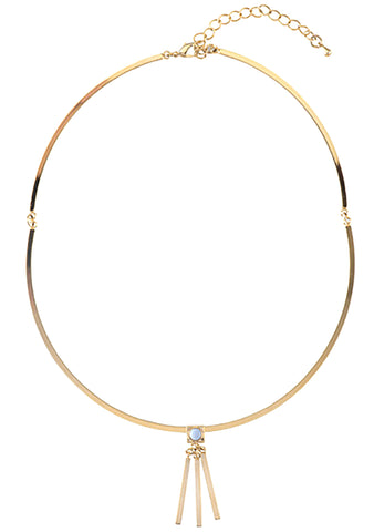 Wanderlust + Co Ava Choker in Gold/Sky