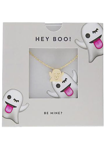 Wanderlust + Co Emoji Boo Necklace in Gold