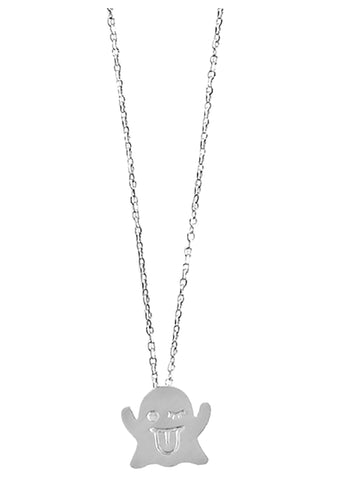 Wanderlust + Co Emoji Boo Necklace in Silver