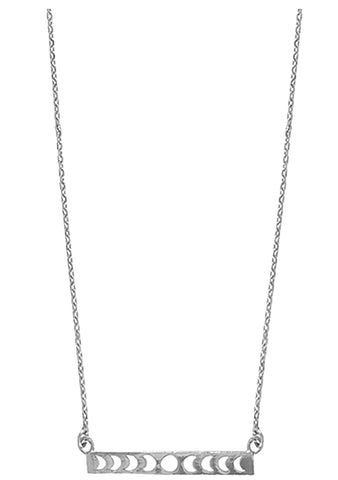 Wanderlust + Co Full Moon Bar Necklace in Silver