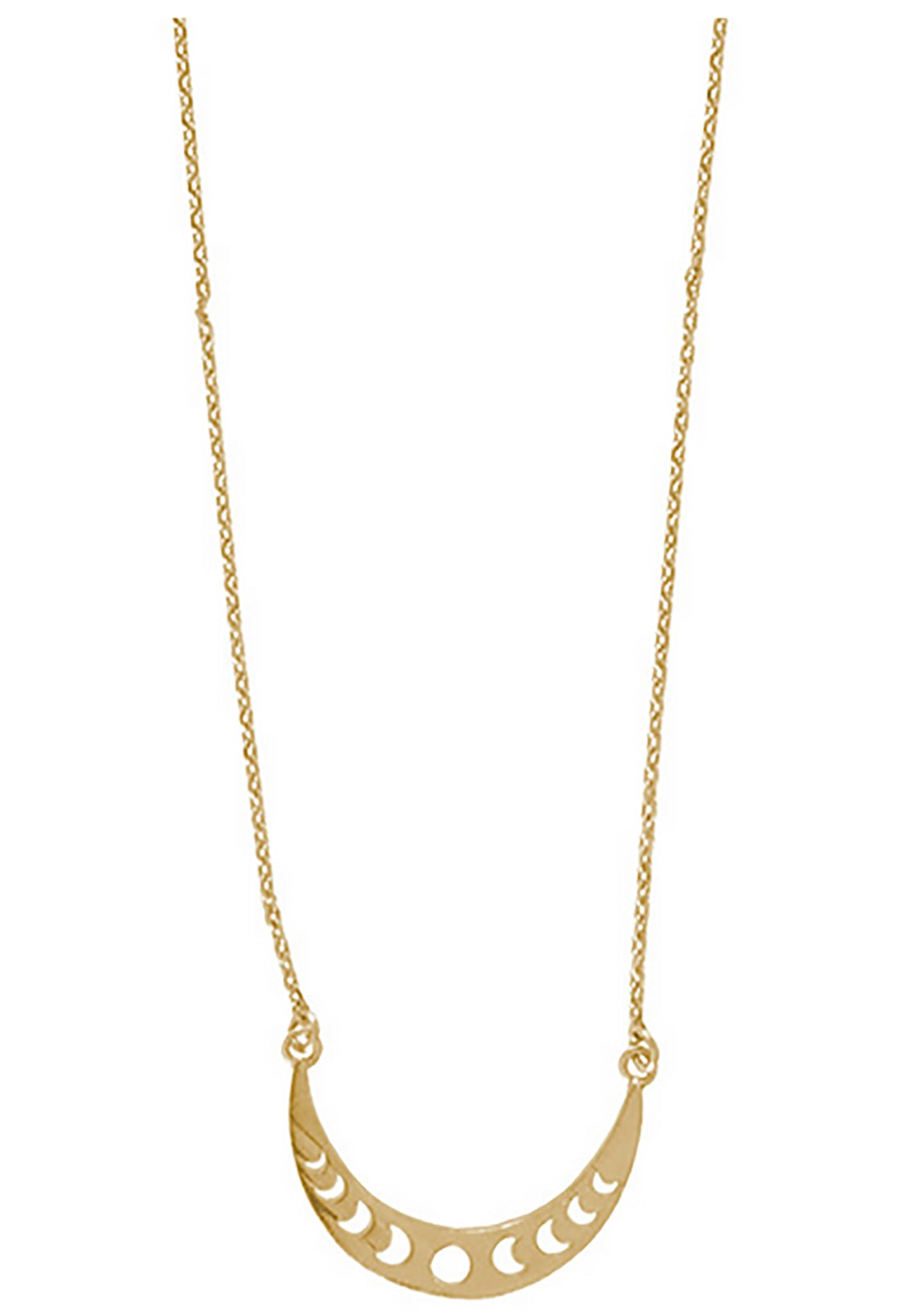 Wanderlust + Co Full Moon Cresent Necklace in Gold
