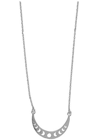 Wanderlust + Co Full Moon Cresent Necklace in Silver