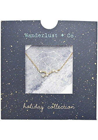 Wanderlust + Co Leo Cosmic Necklace in Gold