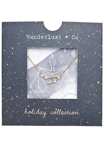 Wanderlust + Co Libra Cosmic Necklace in Gold