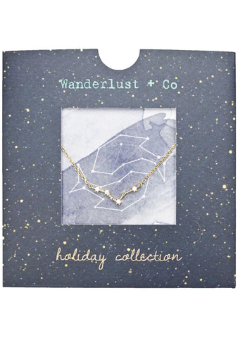 Wanderlust + Co Pisces Cosmic Necklace in Gold