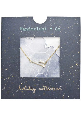 Wanderlust + Co Taurus Cosmic Necklace in Gold