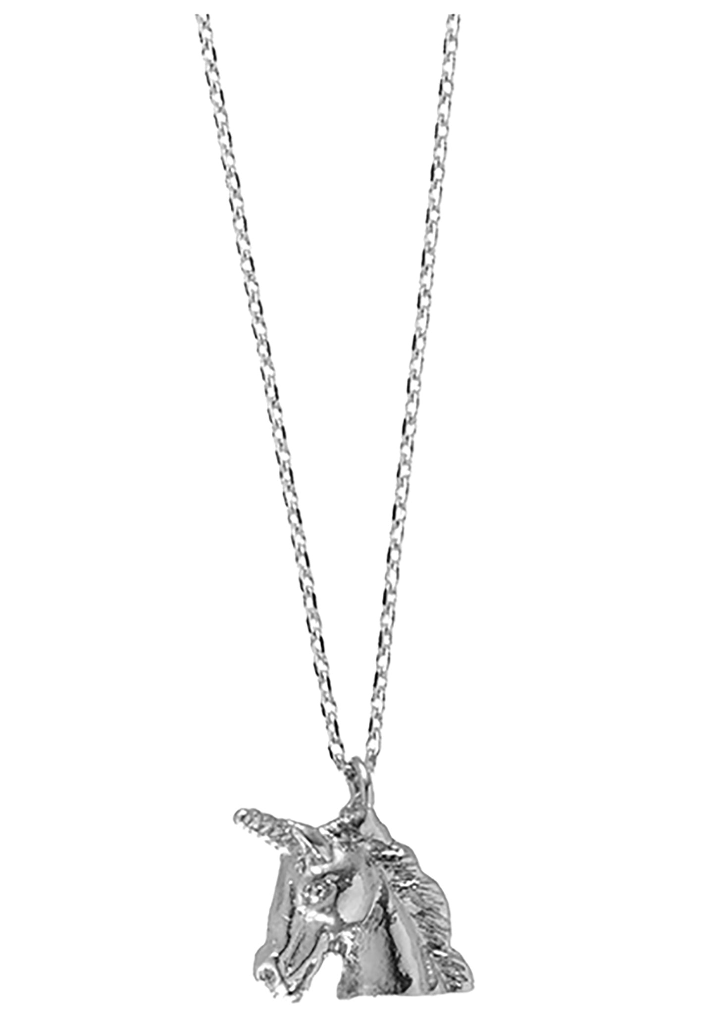 Wanderlust + Co Emoji Unicorn Necklace in Silver