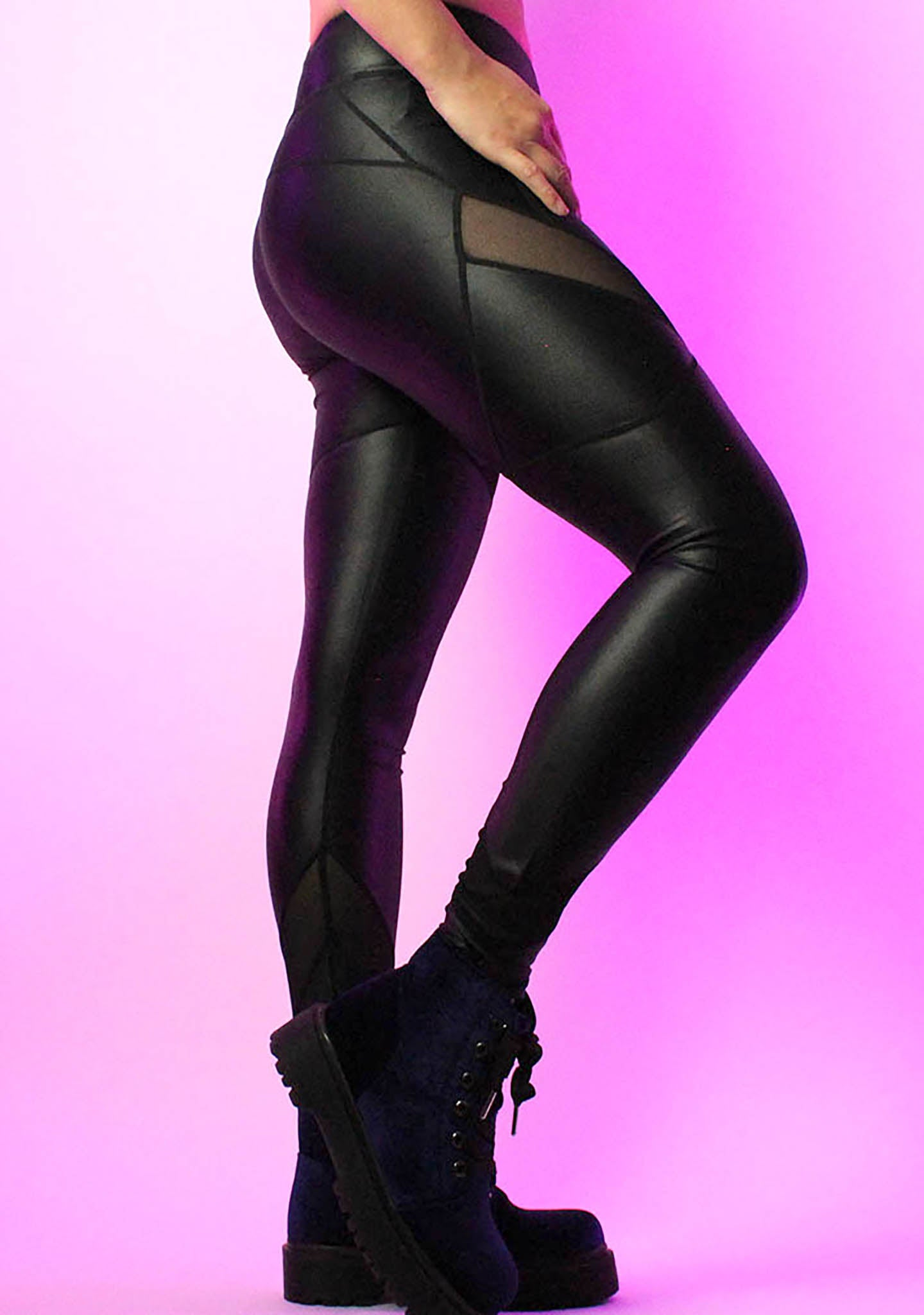 Black Mesh Cut-Out Leggings