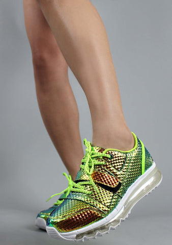 Y.R.U. Aiire Hologram Sneakers in Green Atlantis