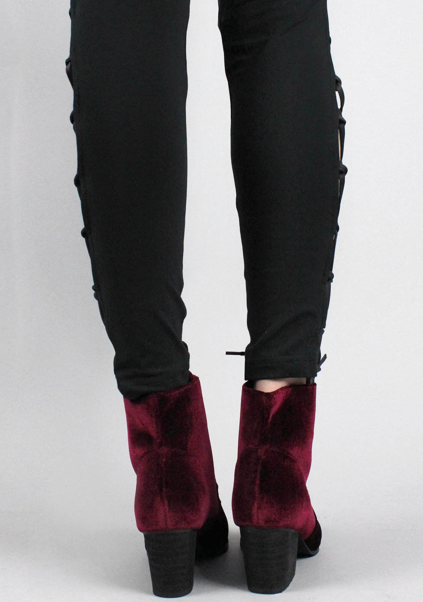 Y.R.U. Aura Velvet Witch Boots in Burgundy