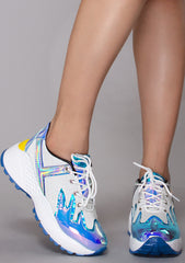 Blaz3 Platform Sneakers in White/Teal