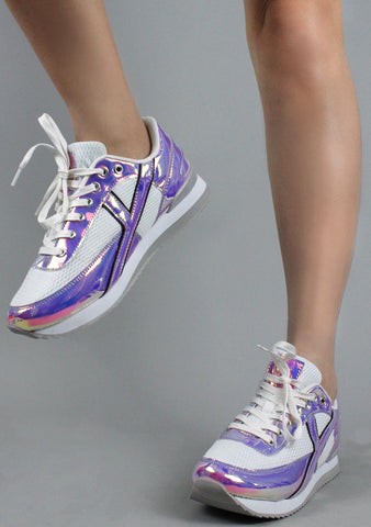 Y.R.U. Flash Hologram Sneakers in Atlantis White