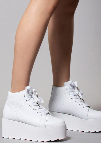 Y.R.U. LALA Hi Platform Sneakers in White