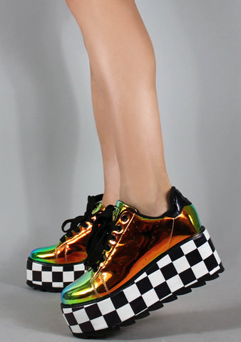 Lala Checker Platform Sneakers in Orange Atlantis