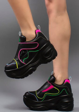 Y.R.U. Matrixx 2 Platform Sneakers in Black/Neon