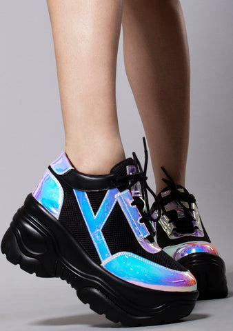 Y.R.U. Matrixx Platform Sneakers in Black Atlantis