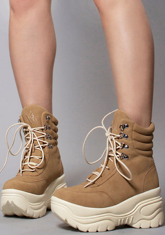 Y.R.U. Matrixx Hi Platform Sneakers in Tan