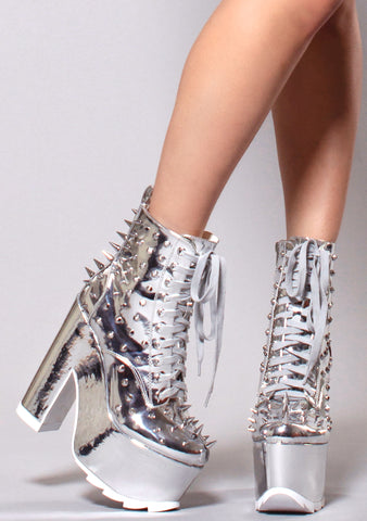 Y.R.U. Night Terror Platform Boots in Chrome