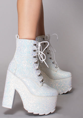 Night Terror Glitter Platform Boots in White