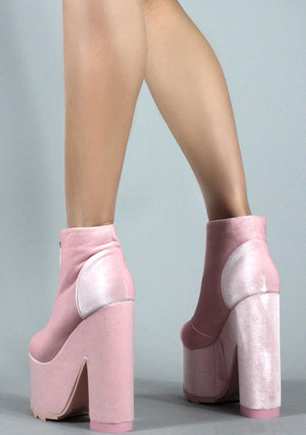 Y.R.U. Nightmare Boots in Pink Velvet