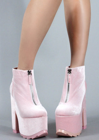 Nightmare Boots in Pink Velvet