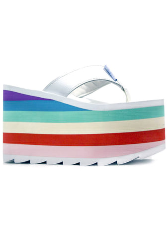 Y.R.U. Pixi Rainbow Platform Sandals in White/Multi