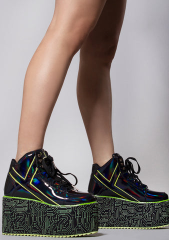 X Cyberdog Qozmo Platform Sneakers in Black Neon Green
