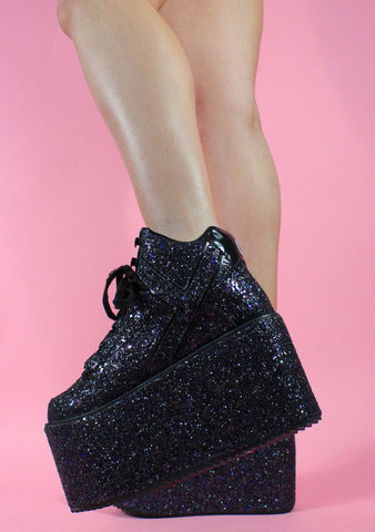 Qozmo Glitter Galactic Platform Sneakers