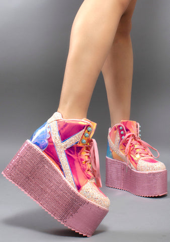 Y.R.U. Qozmo Hi Mermaid 2 Platform Sneakers in Holographic Rose
