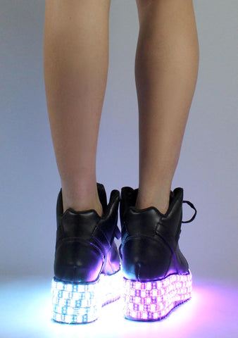 Y.R.U. Qozmo Low Key LED Platform Sneakers in Black