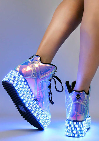 Y.R.U. Qozmo Low Key LED Platform Sneakers in Blue Atlantis