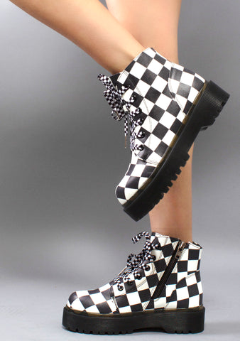Slayr Checker Boots in Black and White