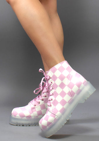 Y.R.U. Slayr Checker Boots in Pink and White