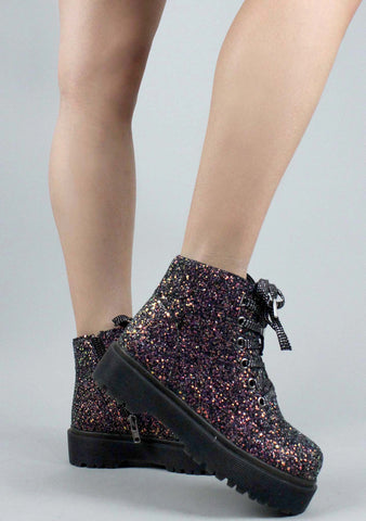 Y.R.U. Slayr Glitter Boots in Black