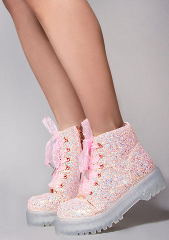 Slayr Glitter Boots in Pink