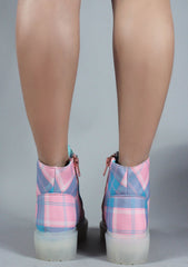 Slayr Boots in Pastel Plaid