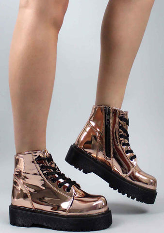 Y.R.U. Slayr Boots in Rose Gold