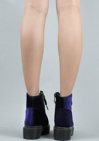 Y.R.U. Slayr Velvet Boots in Purple