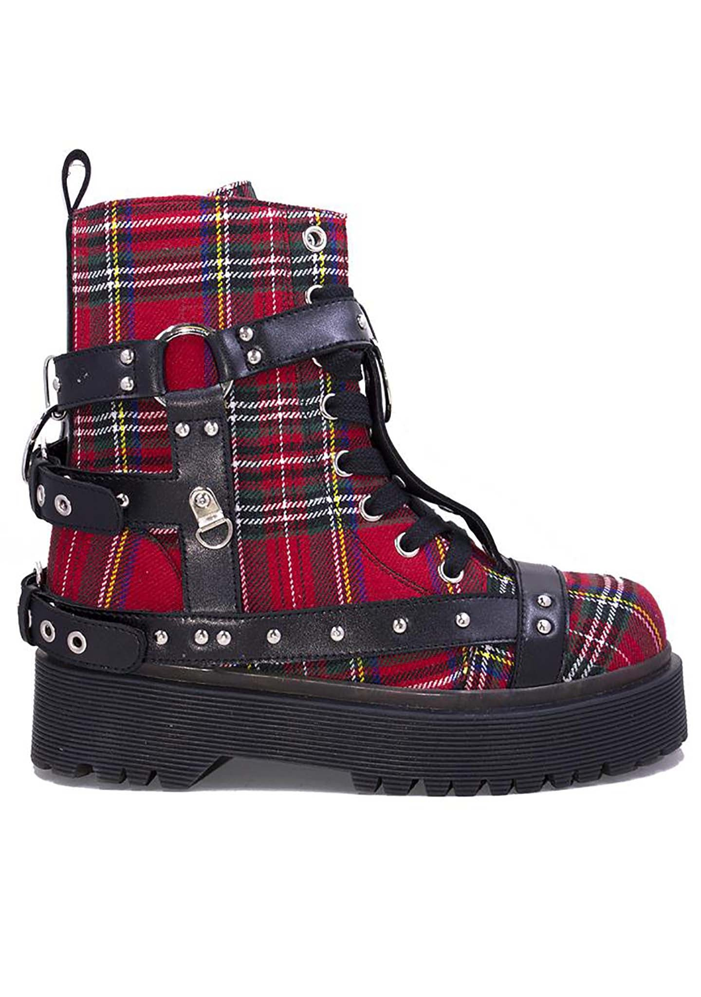 Disorder Bondage Boots in Red Plaid